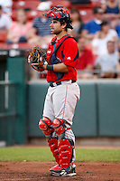 July 28, 2009:  Catcher Dusty Brown of the Pawtucket Red Sox during a game at Coca-Cola Field in Buffalo, NY.  Pawtucket is the International League Triple-A affiliate of the Boston Red Sox.  Photo By Mike Janes/Four Seam Images