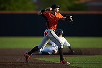 Frederick Keys shortstop Chris Clare (2) makes a throw to first base against the Buies Creek Astros at Jim Perry Stadium on April 28, 2018 in Buies Creek, North Carolina. The Astros defeated the Keys 9-4.  (Brian Westerholt/Four Seam Images)