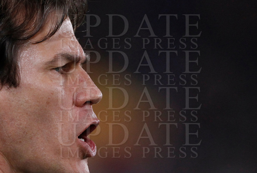 Calcio, Serie A: Roma vs Milan. Roma, stadio Olimpico, 9 gennaio 2016.<br /> Roma's Rudi Garcia gives indications to his players during the Italian Serie A football match between Roma and Milan at Rome's Olympic stadium, 9 January 2016.<br /> UPDATE IMAGES PRESS/Isabella Bonotto