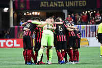 ATLANTA, GA - MARCH 07: ATLANTA, GA - MARCH 07: Atlanta United starters huddle prior to match against FC Cincinnati, which Atlanta won, 2-1, in front of a crowd of 69,301 at Mercedes-Benz Stadium during a game between FC Cincinnati and Atlanta United FC at Mercedes-Benz Stadium on March 07, 2020 in Atlanta, Georgia.