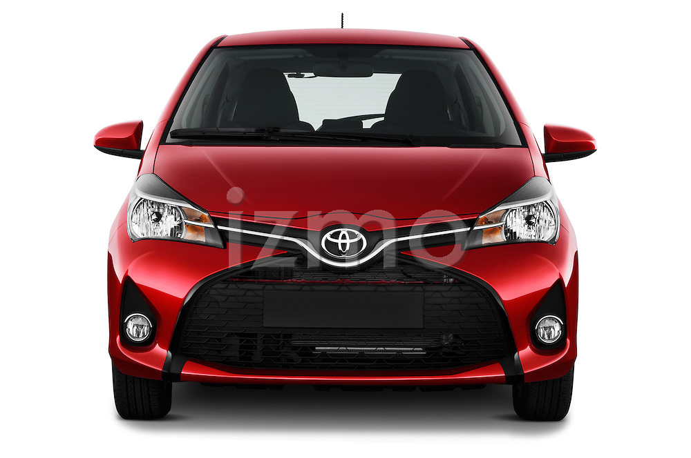 Car photography straight front view of a 2015 Toyota Yaris SE 5-Door Liftback AT 5 Door Hatchback Front View