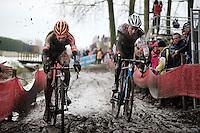 race leaders (& young guns) Wout Van Aert (BEL/Vastgoedservice-Golden Palace) & Mathieu Vanderpoel (NLD/BKCP-Powerplus)<br /> <br /> Azencross Loenhout 2014