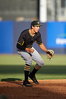 Bradenton Marauders shortstop Cole Tucker (3) during the first game of a doubleheader against the Tampa Yankees on April 13, 2017 at George M. Steinbrenner Field in Tampa, Florida.  Bradenton defeated Tampa 4-1.  (Mike Janes/Four Seam Images)