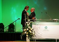 DFB Präsident Dr. Theo Zwanziger gratuliert Mainz 05 Präsident Harald Strutz zu dessen Wahl ins DFL Präsidium<br /> 39. Ordentlicher DFB-Bundestag in der Rheingoldhalle<br /> *** Local Caption *** Foto ist honorarpflichtig! zzgl. gesetzl. MwSt. Es gelten ausschließlich unsere unter <br /> <br /> Auf Anfrage in hoeherer Qualitaet/Aufloesung. Belegexemplar an: Marc Schueler, Am Ziegelfalltor 4, 64625 Bensheim, Tel. +49 (0) 6251 86 96 134, www.gameday-mediaservices.de. Email: marc.schueler@gameday-mediaservices.de, Bankverbindung: Volksbank Bergstrasse, Kto.: 151297, BLZ: 50960101