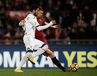 Calcio, Serie A: AS Roma - Atalanta, Roma, stadio Olimpico, 6 gennaio 2018.<br /> AS Roma's Edin Dzeko (r) scores during the Italian Serie A football match between AS Roma and Atalanta at Rome's Olympic stadium, January 6 2018.<br /> UPDATE IMAGES PRESS/Isabella Bonotto