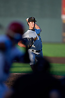 West Virginia Black Bears pitcher Trey McGough (58) during a NY-Penn League game against the Auburn Doubledays on August 23, 2019 at Falcon Park in Auburn, New York.  West Virginia defeated Auburn 8-1, the first game of a doubleheader.  (Mike Janes/Four Seam Images)