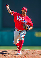 11 March 2016: Philadelphia Phillies pitcher Edward Mujica on the mound during a Spring Training pre-season game against the Atlanta Braves at Champion Stadium in the ESPN Wide World of Sports Complex in Kissimmee, Florida. The Phillies defeated the Braves 9-2 in Grapefruit League play. Mandatory Credit: Ed Wolfstein Photo *** RAW (NEF) Image File Available ***