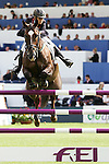 Equestrian - Showjumping - Meydan FEI Nations Cup.Tina Fletcher (GBR) aboard Hallo Sailor in action during the Meydan FEI Nations Cup at the Royal Dublin Society (RDS) in Dublin.
