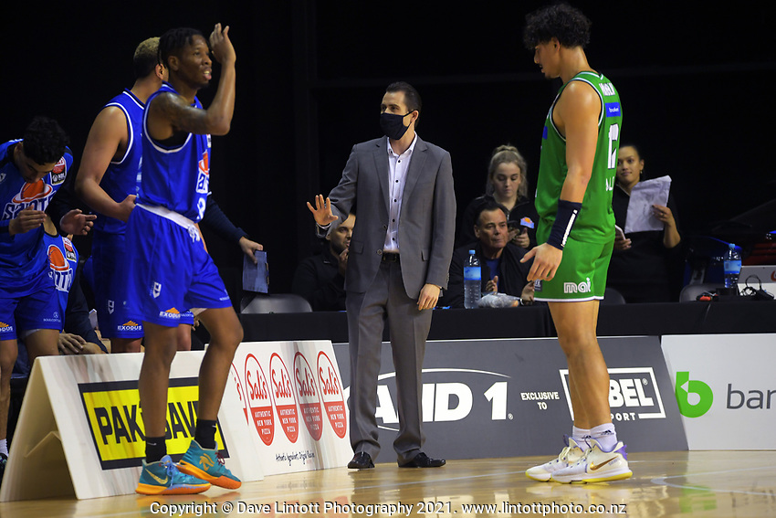 Saints coach Zico Coronel during the National Basketball League match between the Wellington Saints and Manawatu Jets at TSB Bank Arena in Wellington, New Zealand on Sunday, 13 June 2021. Photo: Dave Lintott / lintottphoto.co.nz