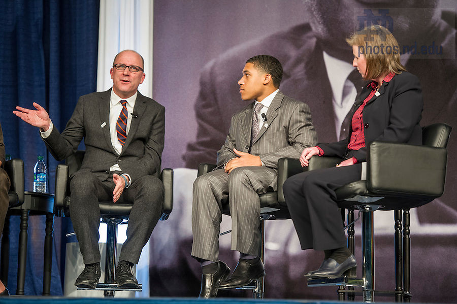 Jan. 18, 2016; Dean John MGreevy with panelist Steven Waller and Associate Professor Jennifer Mason McAward during the panel discussion at the Martin Luther King, Jr. Celebration Luncheon 2016.  (Photo by Barbara Johnston/University of Notre Dame)