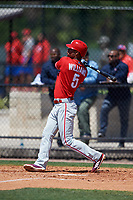 Philadelphia Phillies Nick Williams (5) during a Minor League Spring Training game against the Pittsburgh Pirates on March 23, 2018 at the Carpenter Complex in Clearwater, Florida.  (Mike Janes/Four Seam Images)