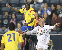 Brek Shea #23 of the USA MNT chests the ball down in front of Adrian Ramos #20 of Colombia during an international friendly match at PPL Park, on October 12 2010 in Chester, PA. The game ended in a 0-0 tie.