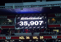 The attendance of 35,907 is flashed on the big screen during the Steinlager Series rugby union match between the New Zealand All Blacks and Wales at Westpac Stadium, Wellington, New Zealand on Saturday, 18 June 2016. Photo: Dave Lintott / lintottphoto.co.nz