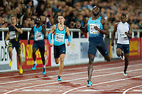 22 AUG 2013 - STOCKHOLM, SWE - LaShawn Merritt (second from right) of the USA wins the men's 400m race in a time of 44:69 during the DN Galen meet of the 2013 Diamond League at the Stockholm Olympic Stadium in Stockholm, Sweden (PHOTO COPYRIGHT © 2013 NIGEL FARROW, ALL RIGHTS RESERVED)