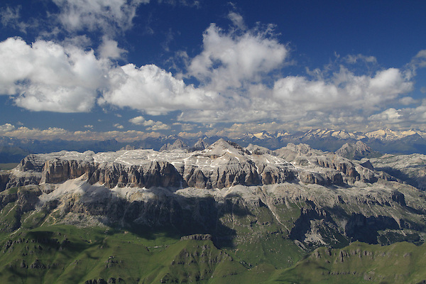 Sella Groupa from  Mount Marmolada  in Dolomites Mountains, northern Italy, Europe.