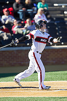 Nate Snellgrove (40) of the Cincinnati Bearcats follows through on his swing against the Radford Highlanders at Wake Forest Baseball Park on February 22, 2014 in Winston-Salem, North Carolina.  The Highlanders defeated the Bearcats 6-5.  (Brian Westerholt/Four Seam Images)