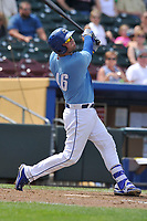 Omaha Storm Chasers catcher Cam Gallagher (46) swings at a pitch against the Oklahoma City Dodgers at Werner Park on June 24, 2018 in Omaha, Nebraska. Omaha won 8-0.  (Dennis Hubbard/Four Seam Images)