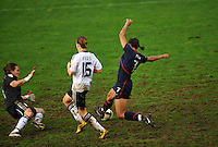 Shannon Boxx tries to score against German goalkeeper Nadine Angerer.  The USA captured the 2010 Algarve Cup title by defeating Germany 3-2, at Estadio Algarve on March 3, 2010.