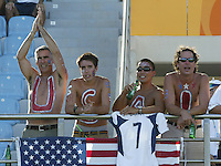 23 August 2004:  USA fans celebrates USA team before the game against Germany during the semifinal game at Pankritio Stadium in Heraklio, Greece.     USA defeated Germany, 2-1 in overtime.   Credit: Michael Pimentel / ISI
