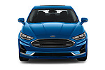 Car photography straight front view of a 2019 Ford Fusion-Hybrid SEL 4 Door Sedan Front View