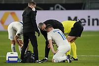 Holmbert Fridjonsson (Island Iceland) ist verletzt - 25.03.2021: WM-Qualifikationsspiel Deutschland gegen Island, Schauinsland Arena Duisburg