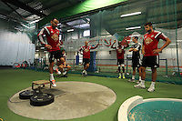 Pictured L-R: Leon Britton looked on by Ben Davies, Jonjo Shelvey, Dwight Tiendalli and Lukasz Fabianski. Thursday 03 July 2014<br />