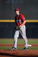 Fort Myers Miracle starting pitcher Sean Poppen (16) gets ready to deliver a pitch during a game against the Dunedin Blue Jays on April 17, 2018 at Dunedin Stadium in Dunedin, Florida.  Dunedin defeated Fort Myers 5-2.  (Mike Janes/Four Seam Images)