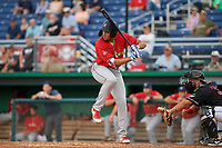 State College Spikes Dariel Gomez (34) at bat during a NY-Penn League game against the Batavia Muckdogs on July 2, 2019 at Dwyer Stadium in Batavia, New York.  Batavia defeated State College 1-0.  (Mike Janes/Four Seam Images)