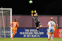 Sky Blue FC goalkeeper Jenni Branam (23) goes up to grab a ball. The Chicago Red Stars defeated Sky Blue FC 2-1 during a Women's Professional Soccer (WPS) match at Yurcak Field in Piscataway, NJ, on August 01, 2010.