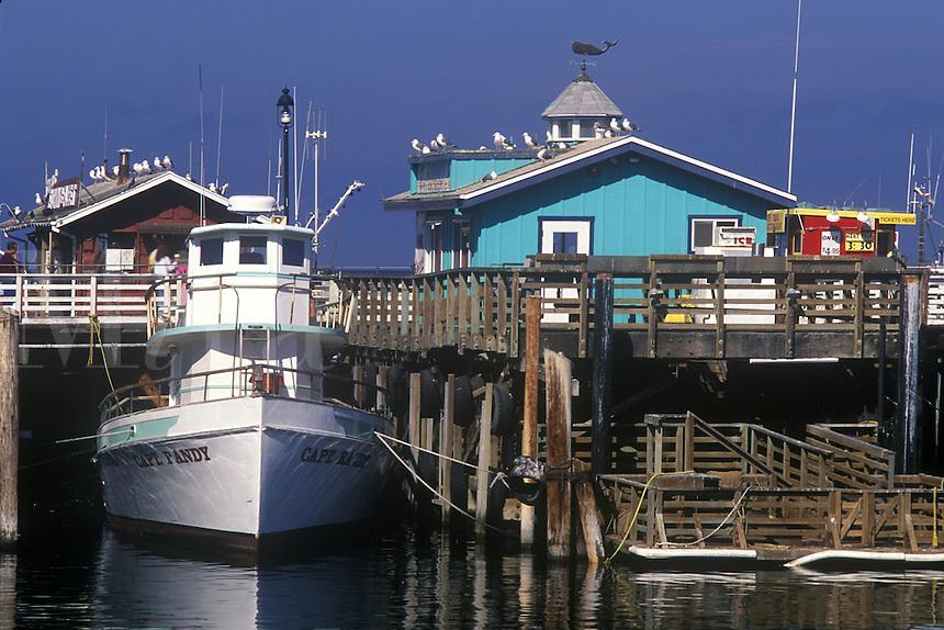 Boat docked at Fisherman's Wharf, Monterey, California