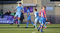 Edon Pruti (No 6) of Burnley leaps into the air to celebrate their opening goal scored by Mitchell George (No 9) during Crystal Palace Under-23 vs Burnley Under-23, Premier League Cup Football at Champion Hill Stadium on 6th February 2020