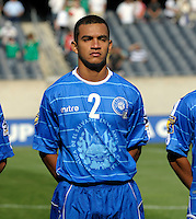 El Salvador's Xavier Garcia lines up for the national anthem.  El Salvador defeated Cuba 6-1 at the 2011 CONCACAF Gold Cup at Soldier Field in Chicago, IL on June 12, 2011.