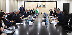 Palestinian Prime Minister Mohammed Ishtayeh meets with World Bank President David Malpass, in the West Bank city of Ramallah on October 5, 2021. Photo by Prime Minister Office