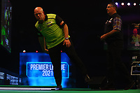 25th May 2021; Marshall Arena, Milton Keynes, Buckinghamshire, England; Professional Darts Corporation, Unibet Premier League Night 14 Milton Keynes; Michael van Gerwen reacts as he misses a chance to check out