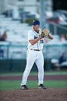 Everett AquaSox relief pitcher Grant Spranger (30) gets ready to deliver a pitch during a Northwest League game against the Tri-City Dust Devils at Everett Memorial Stadium on September 3, 2018 in Everett, Washington. The Everett AquaSox defeated the Tri-City Dust Devils by a score of 8-3. (Zachary Lucy/Four Seam Images)