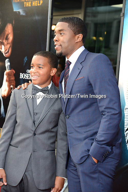 """Jordan Scott and Chadwick Boseman attends the World Premiere of """"Get On Up"""" at the Apollo Theater in Harlem in New York Citiy on July 21, 2014."""