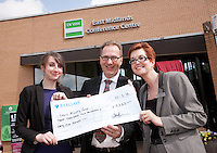 EMPO raised £3,265 for the Lewis Mighty fund. Pictured from left are Lizzie Wright and Giles Inman of EMPO with Lisa Brown of Barclays Bank
