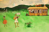 France, île de la Réunion, Saint Paul, Le Guillaume: Restaurant: Chez Doudou, mur peint de la salle du restaurant //  France, Ile de la Reunion (French overseas department),  Saint Paul district, Le Guillaume :    Chez Doudou Restaurant, Painted wall