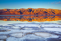 USA, California, Death Valley National Park, Panamint Range reflected in a seasonal pond at sunrise