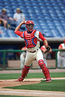 Clearwater Threshers catcher Gabriel Lino (7) throws to first base during a game against the Daytona Tortugas on April 20, 2016 at Bright House Field in Clearwater, Florida.  Clearwater defeated Daytona 4-2.  (Mike Janes/Four Seam Images)