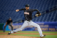 Jupiter Hammerheads relief pitcher Lukas Schiraldi (45) delivers a pitch during a game against the Clearwater Threshers on April 12, 2018 at Spectrum Field in Clearwater, Florida.  Jupiter defeated Clearwater 8-4.  (Mike Janes/Four Seam Images)
