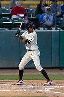 Visalia Rawhide third baseman Yan Sanchez (2) during a California League game against the Rancho Cucamonga Quakes on April 9, 2019 in Visalia, California. Visalia defeated Rancho Cucamonga 8-5. (Zachary Lucy/Four Seam Images)