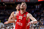 Real Madrid's Gustavo Ayon and Crvena Zvezda Mts Belgrade's Ognjen Kuzmic during Turkish Airlines Euroleague match between Real Madrid and Crvena Zvezda Mts Belgrade at Wizink Center in Madrid, Spain. March 10, 2017. (ALTERPHOTOS/BorjaB.Hojas)