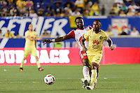 Harrison, NJ - Wednesday July 06, 2016: Gideon Baah, William Da Silva during a friendly match between the New York Red Bulls and Club America at Red Bull Arena.