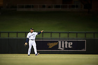 Salt River Rafters center fielder Corey Ray (2), of the Milwaukee Brewers organization, points at a teammate as he warms up in the outfield between innings of a game against the Mesa Solar Sox on October 17, 2017 at Salt River Fields at Talking Stick in Scottsdale, Arizona. The Solar Sox defeated the Rafters 8-5. (Zachary Lucy/Four Seam Images)