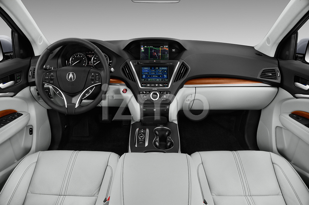 Stock photo of straight dashboard view of 2017 Acura MDX SH-AWD Advance & Entertainment Package 5 Door SUV