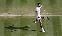 2nd July 2021; Wimbledon, SW London. England; Wimbledon Tennis Championships, day 5;  Novak Djokovic of Serbia competes during the mens singles third round match between Novak Djokovic of Serbia and Denis Kudla of the United States