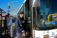 Bruce Rich takes the bus to and from his job in Pacific Beach where he has worked as a mail carrier for the United States Postal Service during the past twenty-eight years.  Rich who uses the bus for about seventy-five percent of his commuting says that the service is late almost all the time and that he is disappointed about the fare hike.