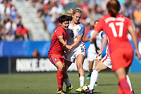 Cary, NC - Sunday October 22, 2017: Lindsey Horan and Lee Geummin during an International friendly match between the Women's National teams of the United States (USA) and South Korea (KOR) at Sahlen's Stadium at WakeMed Soccer Park. The U.S. won the game 6-0.