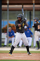 Pittsburgh Pirates second baseman Rodolfo Castro (32) at bat during a Florida Instructional League game against the Toronto Blue Jays on September 20, 2018 at the Englebert Complex in Dunedin, Florida.  (Mike Janes/Four Seam Images)